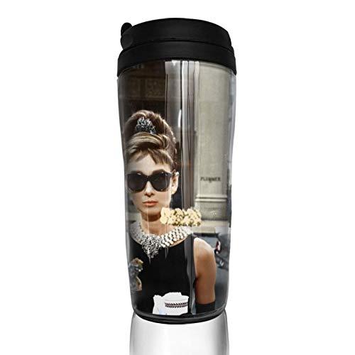 Audrey Hepburn Kaffeebecher Wasserbecher Reisebecher wiederverwendbar auslaufsicher mit Deckel für 350 ml (Becherboden verdickt rutschfest)