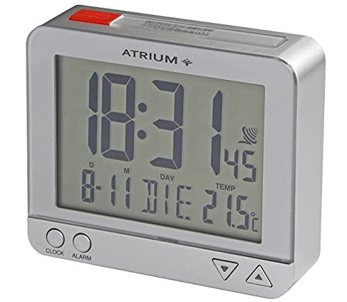ATRIUM Funk-Wecker digital silber sensorgesteuertes Nachtlicht, Obenabsteller, Datum und Temperaturanzeige A760-19