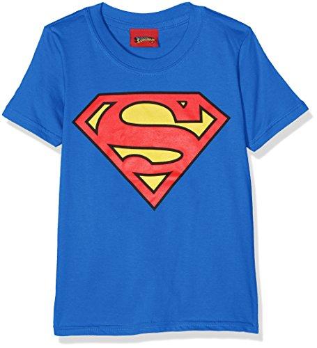 DC Comics - T-Shirt - Manches Courtes Garçon - Bleu - 3-4 ans-X-Small