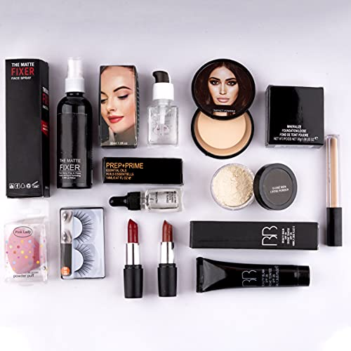 AP Home Decor Makeup kit combo pack of 11, Essential Oil, Face Primer, foundation, Concealer, Loose Powder, Blender, Makeup Fixer, Compact Powder face powder, 2 lipstick, eyelashes,