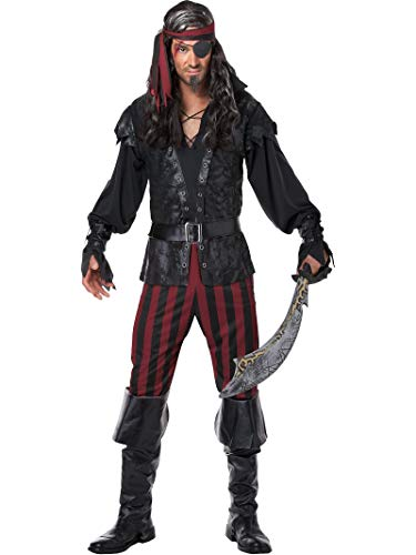 Men's Ruthless Rogue Pirate Costume Small Black,Scarlet