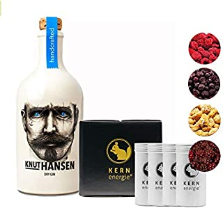 Knut Hansen Gin Geschenkset | Knut Hansen Dry Gin Set mit fruchtigen Nüssen und gefriergetrockneten Früchten als Gin Aroma von KERNenergie