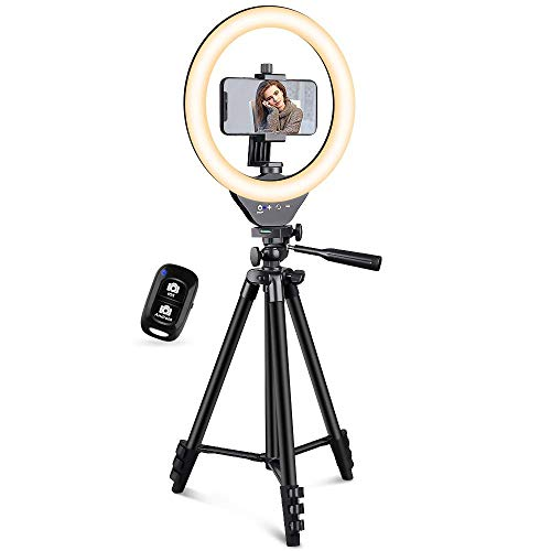 EICAUS 10'' Ring Light with Stand and Phone Holder, Cell Phone Tripod