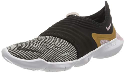 Nike Wmns Free RN Flyknit 3.0, Scarpe da Corsa Donna, Black/Mtlc Gold/Plum Chalk, 41 EU
