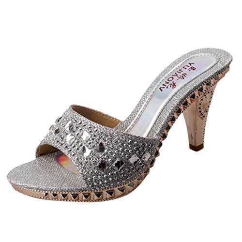 SANFASHION Damen Sommer Mode Strass Glitzer Starke Ferse Schuhe High Heel Party Hausschuhe Outdoor Schlappen Frau Geschenk