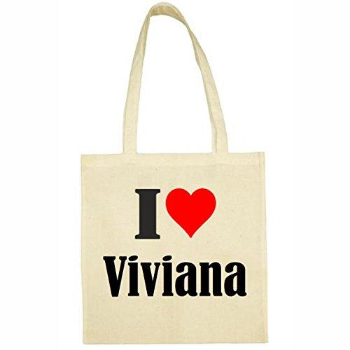 Tasche I Love Viviana Größe 38x42 Farbe Natur Druck Schwarz