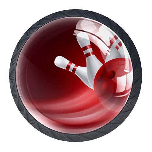 TIZORAX Schubladenknauf, rot, Bowlingkugel, rund, Küchenschrankgriff, 4 Packungen für Schrank, Kommode, Tür, Heimdekoration
