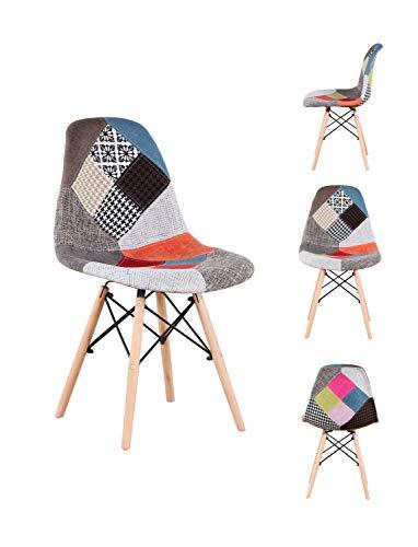 88 Un Conjunto de Cuatro sillas de Comedor de Arte de Estilo Medieval nórdico, Silla de diseño Retro con Soporte de pie de Madera de Haya, Adecuada para Cocina, Restaurante (Rojo)