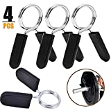 Spring Collars for Dumbbell 4Pack 1inch/25mm Exercise Collars Barbell Clip Clamps for Olympic Weight Bar Threaded Dumbbells Spring Lock Collars for Gym Fitness Strength Training Weight-Lifting Working
