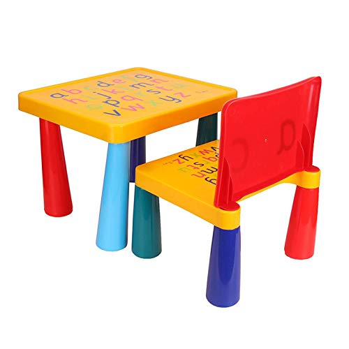 ZXIAQI Kinder Plastiktisch und 1 Stuhlset, mit Buchstaben, Sicherheitspilzbeinen, Abnehmbarem Aktivitätstischstuhl für Kleinkinder Pädagogisches Geschenk, Mehrfarbig