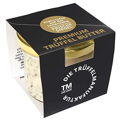 Die Trüffelmanufaktur - Feinkost Trüffelbutter Premium mit 25{5b0ee7414f4add6854dc31924ba9faf636981d4ee7587ad4c17352e9ab8d5da8} echtem frischen schwarzem Trüffel, die Delikatesse für Feinschmecker, weiße Trueffel-Butter im Glas á 95 g - Made in Germany