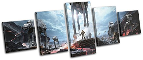 Bold Bloc Design - Star Wars Battlefront at-at Gaming 300x120cm Multi Canvas Art Print Box Framed Picture Wall Hanging - Hand Made in The UK - Framed and Ready to Hang
