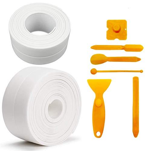 Autoadhesivas Cinta de Sellado, KECRULV 2 Rollos PVC Cinta Selladora con 6 Raspadores de Silicona, Impermeable Resistente al Agua y Prueba de Moho para Esquina de la Pared Baño Cocina, 3,2 m x 3,8 cm