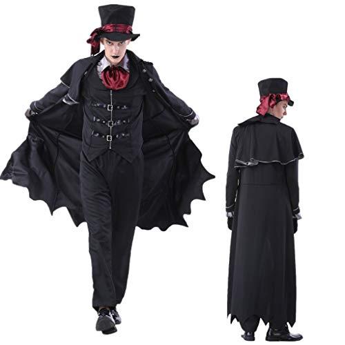 1-1 Große Größe erwachsenes Halloween Paar Kostüm Zauberer Hexe Grim Reaper Robe-Abendkleid Partei Thema Parteien,Black~Men-M