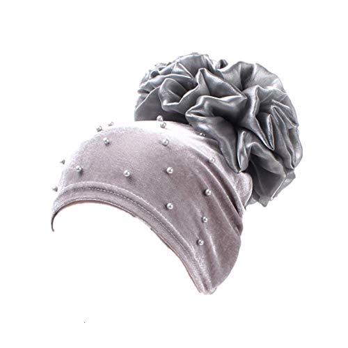 Bigood Foulard Islamique Turban Fichu Femme Chapeau Fleur Bonnet Gris