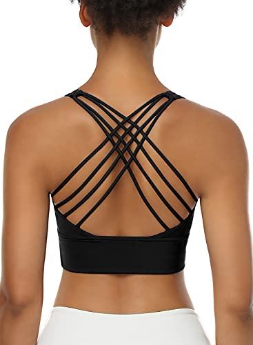 Women Sports Bras, Removable Longline Bra Cross Strappy Sports Bras Top, High Strength Yoga Sports Bra Tank Top for Workout Fitness Gym Yoga Running