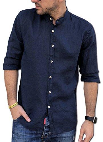 CAMICIE & dintorni Camicia Coreana Puro Lino Uomo TG. S, M, L, XL, XXL, 3XL Manica Lunga Art. A19 (L, Blu)