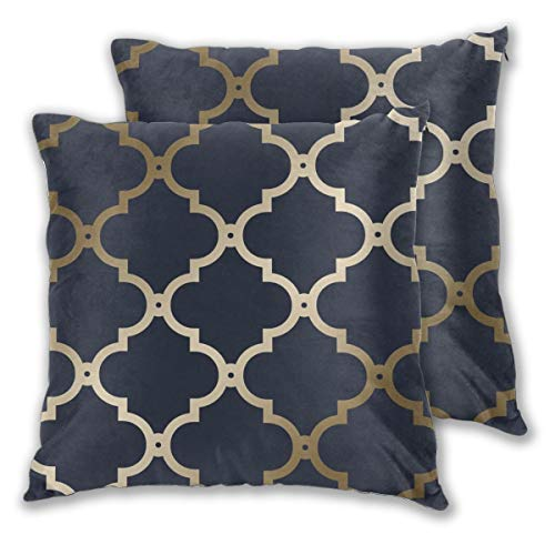 Art Fan-Design Cushion Cover Morocco trellis navy gold Set of 2 Square Throw Pillow Case Sham Home for Sofa Chair Couch/Bedroom Decorative Pillowcases