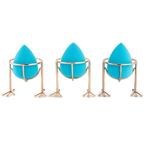 Xena 6 Piece Set Makeup Beauty Blender Holder Teal Sponges Gold Chick Feet Wire Egg Tray Eggs Stand Storage Bathroom Accessories 1.77 x 1.97 Inches Each