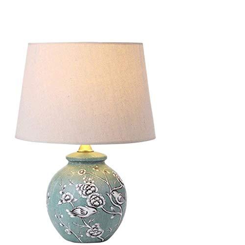 HNBMC Pintura de jardín Chino Lámpara de Escritorio de cerámica lámpara de Noche lámpara de Cama Estudio Estudio Tela lámpara de Mesa Decorativa lámpara-21293w6i3s