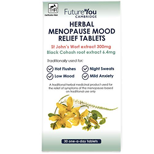 St John's Wort & Black Cohosh Herbal Menopause Mood Relief Tablets - 30 Day Supply - Developed by FutureYou Cambridge, UK