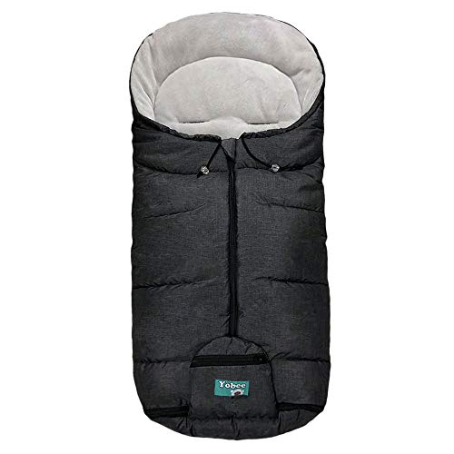 Cozy Warm Baby Universal Footmuff fit Most Strollers Pushchairs Prams, Weatherproof, Anti-Slip, Soft Fleece Lining Stroller Bunting Bag, Toddler Size, Hemp Gray