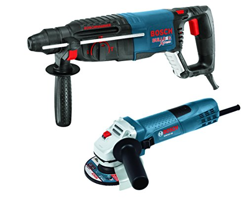 """Bosch 11255VSR-GWS8 1"""" SDS-plus Bulldog Xtreme Rotary Hammer with 4-1/2"""" Small Angle Grinder, Blue"""