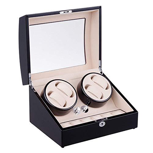 GUOOK Luxusuhren Automatik Uhrenbeweger Box mit 4 Wicklerpositionen 6 Aufbewahrungsplätze 4 Modi, Klavierlack Schwarz Glanz Uhrenbeweger Etui