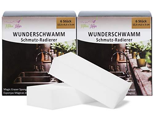 Kitchen Helpis® Wunderschwamm 12er Set, 12 Schmutzradierer, XXL-Reinigungsschwämme aus Melaninharz, Zauberschwämme, Schmutzschwämme, Putzschwämme weiß, Melaminschwamm, Scheuerschwamm