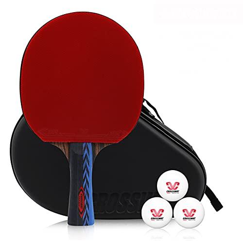LINGOSHUN Raqueta de Ping Pong Profesional,Goma Aprobada por la ITTF con Tecnología de Fibra de Carbono Raquetas de Tenis de Mesa de Nivel de Rendimiento / 6 Stars / 15x25CM