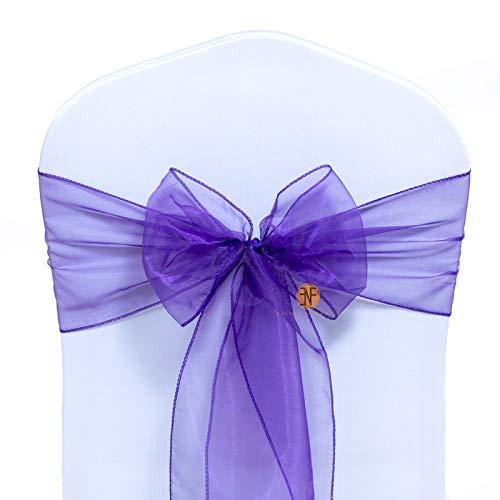 Paquete de 100 Silla Organza Completo Lazo Bandas - Semi-Transparente Tela Cubiertas con Minimal Sheen - Adecuado para Banquetes Bodas,Recepciones,Celebraciones, y Eventos | Cadbury Purple