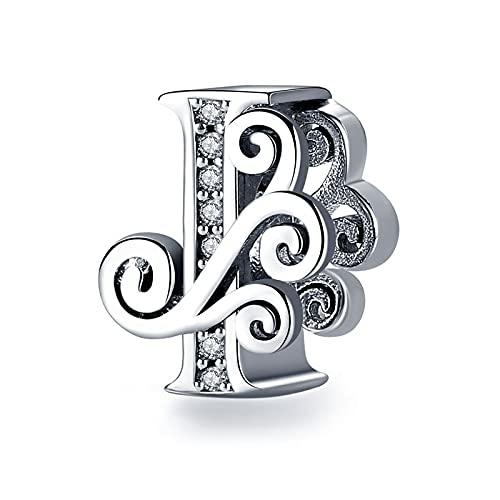 pandora 925 plata esterlina DIY colgante joyería nombre letra alfabeto I encanto encanto encanto encanto pulseras única regalo de la joyería c