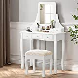 SHA CERLIN Makeup Vanity Table and Cushioned Stool Set, Dressing Table with 5 Storage Drawers, Bedroom Vanity with Mirror for Women Girls, White