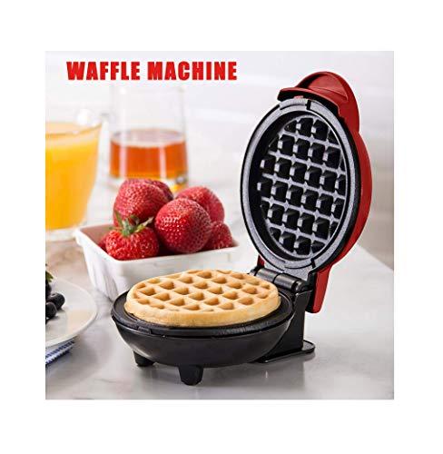 Detrade Mini Waffeleisen Maschine Geeignet für Einzelwaffel, Paninis, Kartoffelpuffer und andere Mini Waffeleisen Maschine jederzeit und überall zum Frühstück, Mittagessen oder Snack, Rot