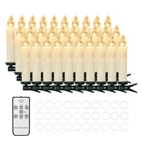 30 PCS Flameless LED Taper Candles Battery Operated Christmas Tree Candle Lights Electric Fake Candles with Remote Timer Perfect for Holiday Home Garden Wedding Parties Decor (30 PCS,Ivory)