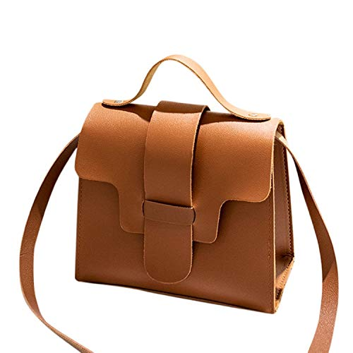 Messenger Bags for Women Thenlian Solid Crossbody Messenger Handbag Purse Totes Shoulder Bags(Free, Brown)