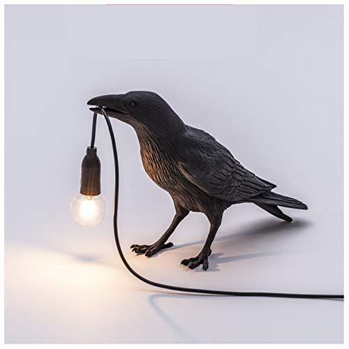 MEILINL Diseñador Crow Bird Nórdica Lámpara De Mesa LED De Mordern Art Deco Decoración De Noche Lámparas De Mesa Lámpara De Pared Decorativa para El Hogar,Negro,1