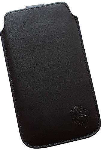 Dealbude24 Schutz Tasche passend für HTC 10 Evo, Pull tab Hülle herausziehbar, dünnes Etui mit Rausziehband, weiches Microfaser exklusiv Adler XX Schwarz