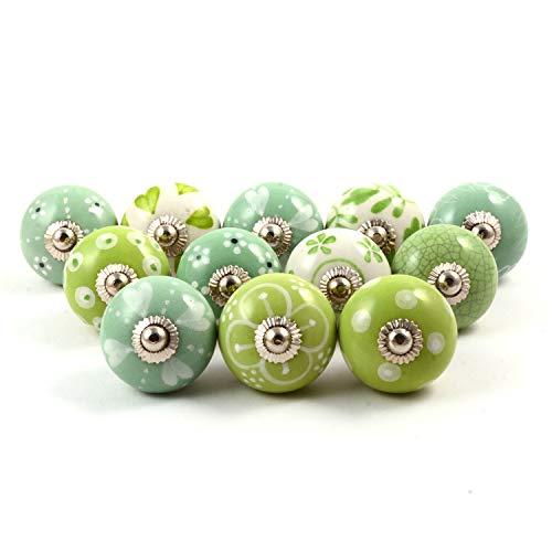 Hochwertige Keramik-Türgriffe - Verschiedene 12 Keramikknöpfe in Grün und Weiß, gemischte Designs, Schranktürknöpfe, Schubladengriffe von The Boho Street.