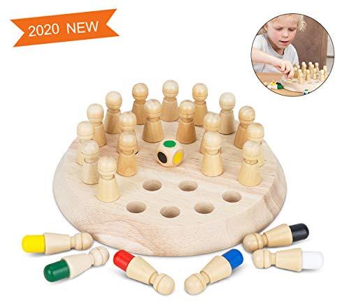Komake Memory Match Stick Schach,Hölzernes Gedächtnis Schach Kinder,Memory Schach Holz,Family Brettspiele schachspiel lernspielzeug,Gedächtnisspiele für Üben Farben, Motorik, Konzentration