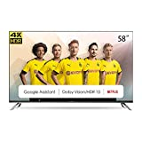 CHiQ Televisor Smart TV LED 58 Pulgadas, Android 9.0, Smart TV, UHD, 4K, WiFi, Bluetooth, Google Play Store, Google Assistant, Netflix, Prime Video, HDMI, USB - U58H7A