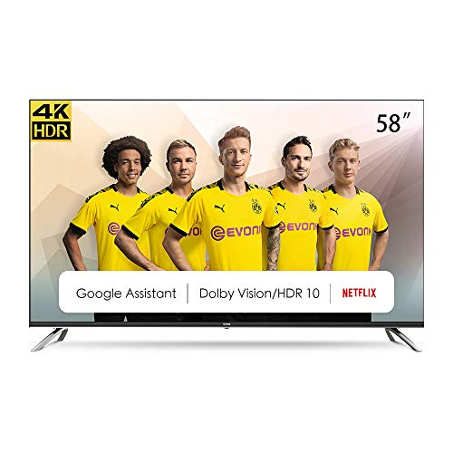 CHiQ Televisor Smart TV LED 58 Pulgadas, Android 9.0, Smart TV, UHD, 4K, WiFi, Bluetooth, Google Play Store, Google Assistant, Netflix, Prime Video, HDMI, USB - U58H7A