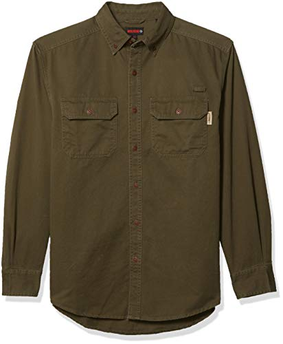 Wolverine Men's Fletcher Soft and Rugged Twill Long Sleeve Shirt, Olive, X-Large