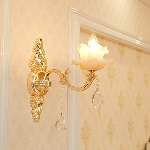 SWNN Luz de pared Lámpara de pared de cristal de aleación de zinc europea sala de estar fondo dormitorio lámpara de noche iluminación lámpara de pared pasillo escalera pasillo luces