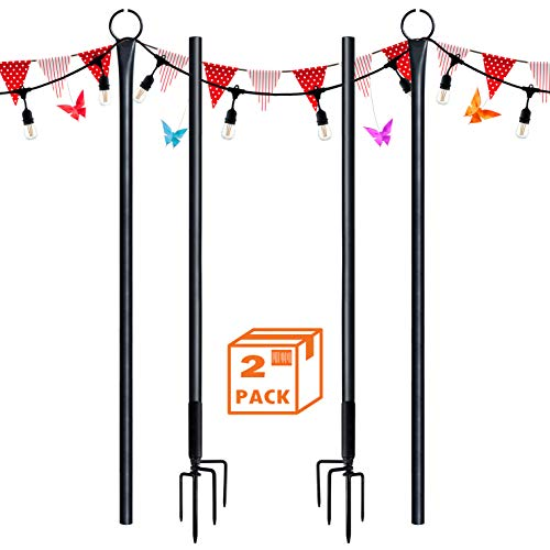 SURNIE String Light Poles for Outdoors (2 x 9 ft) Stainless Steel Connection Pole Patio Lights Halloween LED Hanging Solar Bulbs House Garden Wedding Cafe Party
