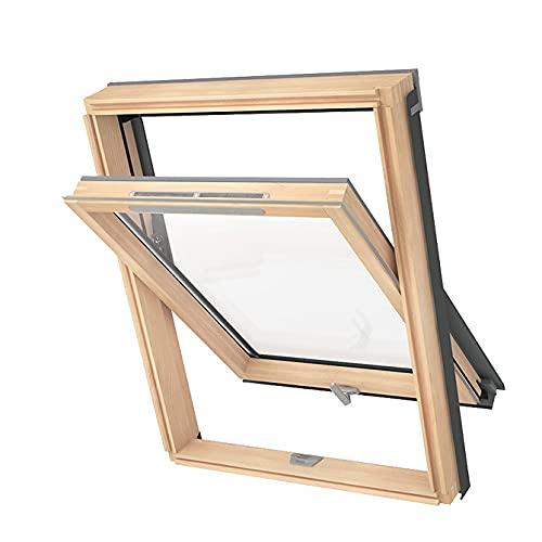 Solstro AVY B900 Dachfenster, Holzfenster mit Doppelverglasung und Lüftungsventil mit Ziegel-Eindeckrahmen - M4A