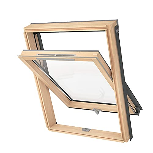 Solstro AVY B900 Pine Wood Roof Window, Ventilation Valve with Universal Flashing Kit - F6A, 66 x 118 cm