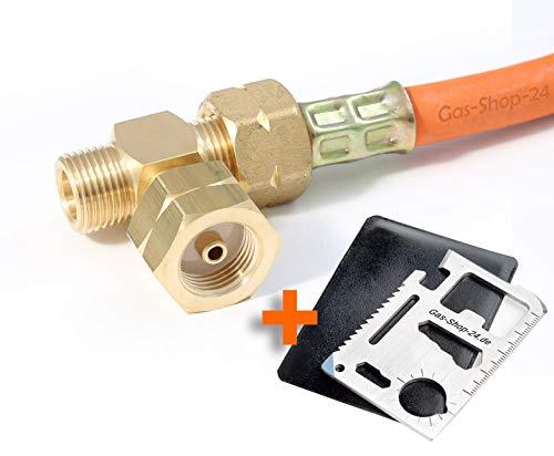 T-Stück Doppelanschluss für Propangasflasche/Gasflaschen (Flaschenanlage, Verbinder, Propan HD-Gasschlauch, für Druckminderer, Regler !!! bei Reifbildung (Vereisung) Ihrer Gasflasche !!!