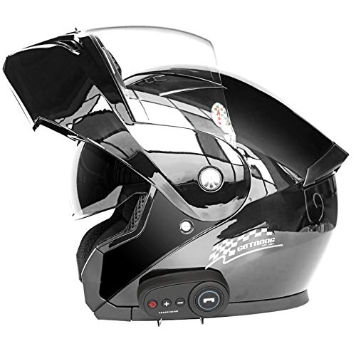 STRTG Casco Bluetooth Motocicleta, Casco Modular Abatible Motocicleta con Visor Dual Antivaho, Cascos Integrales Aprobados Dot/ECE Micrófono Incorporado para Respuesta Automática E,L