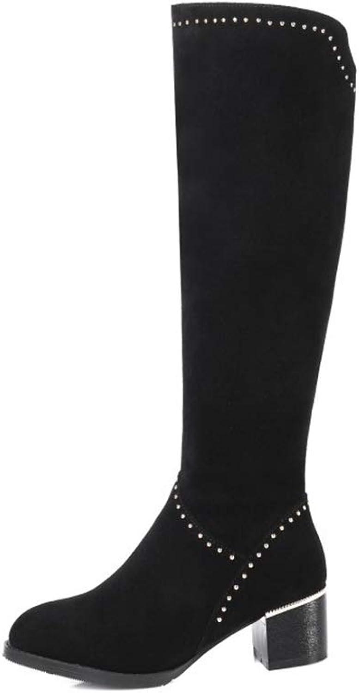 WHL.LL Damen Wildleder Hoher Absatz Kniestiefel Rutschfest Warm halten Atmungsaktiv Hohe Stiefel Mode Niet Stretch-Stiefel (Absatzhhe  5cm)